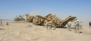 The system being used at Kandahar Air Field includes Screen Machine's JXT jaw crusher, a 4043T impact crusher and a Spyder 516T screening plant.