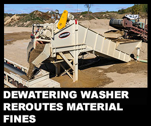 Dewatering washer reroutes material fines