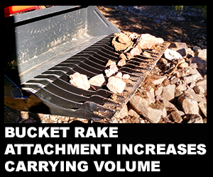 Bucket rake attachment increases carrying volume