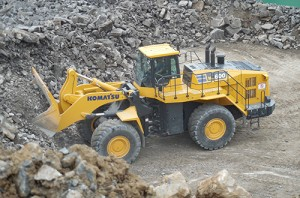Komatsu's WA600-8 wheel loader includes improved hydraulics that reduce fuel consumption levels