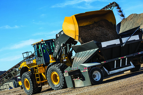 Wheel loader models handle tough aggregate material