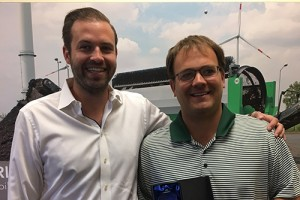 """Ryan Puckett, right, receives the """"Salesperson of the Year"""" award from Komptech Americas' Brandon Lapsys. Photo courtesy of Komptech Americas"""